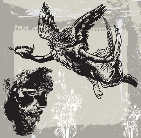 sympathy: Guardian Angel, Condolences - An hand drawn vector, freehand sketch. An expression of sympathy, especially on the occasion of a death.