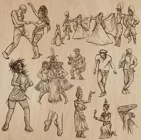 La gente baile - bailarines. Descripción - dibujado a mano, trazado a mano alzada. Colección. Editables en capas y grupos. Color de fondo es aislado.