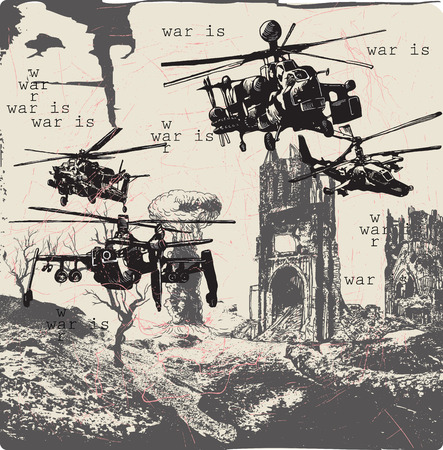 military draft: An hand drawn , freehand sketching - War Landscape - WAR IS - Placard. Illustration