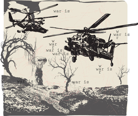 An hand drawn vector, freehand sketching - War Landscape - WAR IS - Placard.