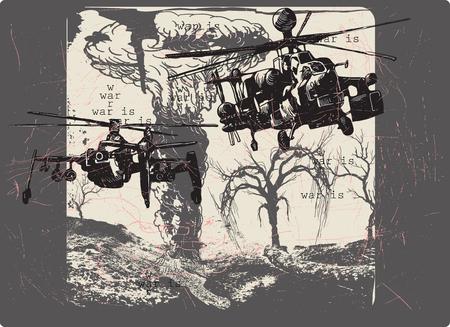 An hand drawn , freehand sketching - War Landscape - WAR IS - Placard. Illustration