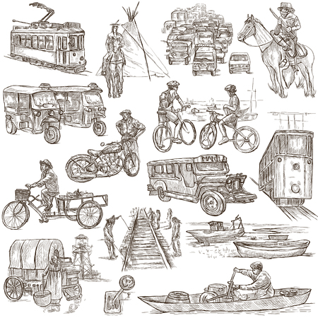 draft horse: TRANSPORT. Collection of an hand drawn illustrations. Description, Full sized hand drawn illustrations - freehand sketches. Drawings on white background.