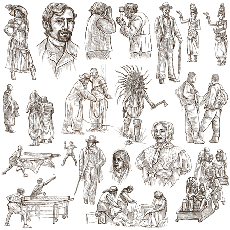 military draft: PEOPLE. Collection of an hand drawn illustrations. Description, Full sized hand drawn illustrations - freehand sketches. Drawings on white background.