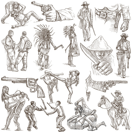 military draft: WARRIORS. Collection of an hand drawn illustrations. Description, Full sized hand drawn illustrations - freehand sketches. Drawings on white background.