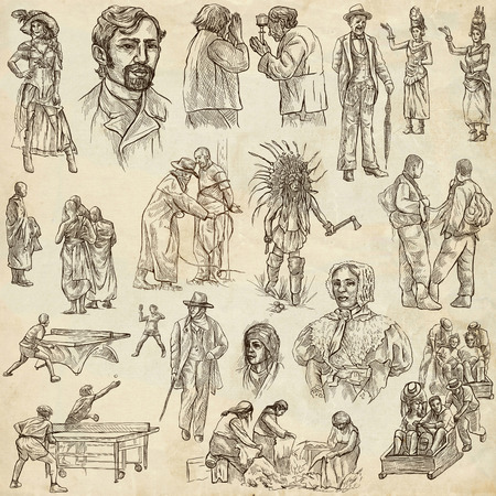 sized: PEOPLE. Collection of an hand drawn illustrations. Description, Full sized hand drawn illustrations - freehand sketches. Drawings on old paper background. Stock Photo