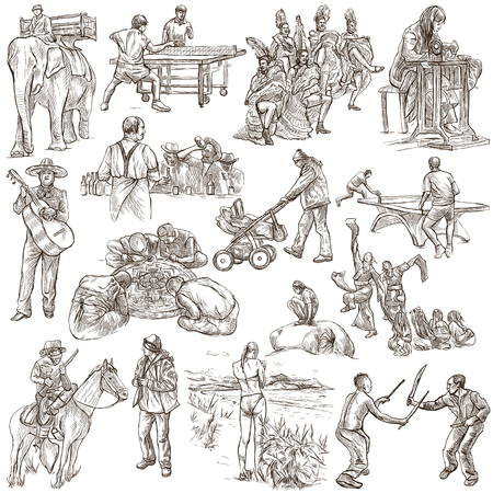 draft horse: PEOPLE. Collection of an hand drawn illustrations. Description, Full sized hand drawn illustrations - freehand sketches. Drawings on white background.