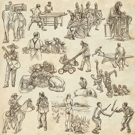 desperado: PEOPLE. Collection of an hand drawn illustrations. Description, Full sized hand drawn illustrations - freehand sketches. Drawings on old paper background. Stock Photo