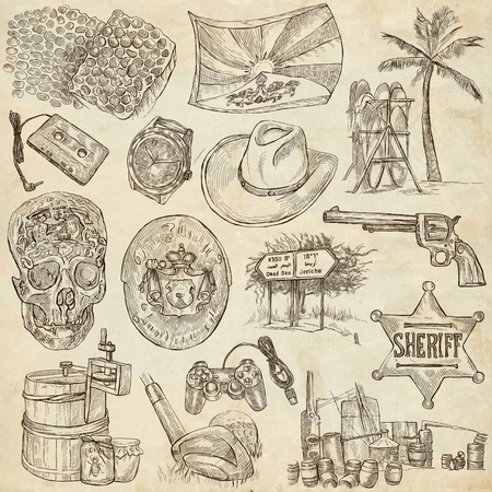 sized: OBJECTS. Collection of an hand drawn illustrations. Description, Full sized hand drawn illustrations - freehand sketches. Drawings on old paper background.