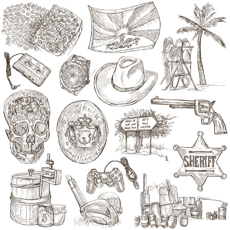 sized: OBJECTS. Collection of an hand drawn illustrations. Description, Full sized hand drawn illustrations - freehand sketches. Drawings on white background.