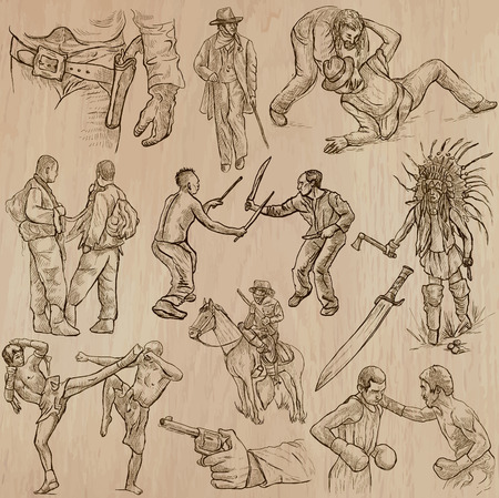 melee: WARRIORS, collection. Description - An hand drawn pack, freehand sketching. Editable in layers and groups. Colored background is isolated.