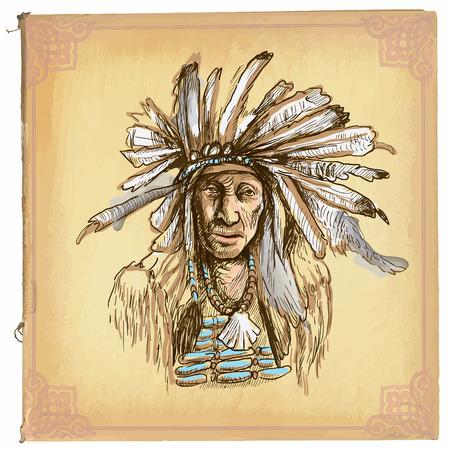 indian old man: illustration, colored line art.Native American.sketch of an North American Indian.drawings are editable in layers and groups.Colored paper, background, is isolated.