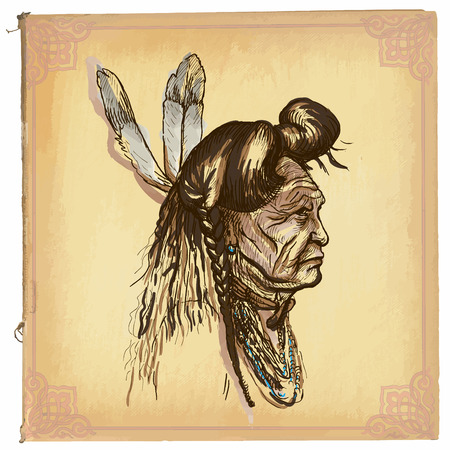 north american: illustration, colored line art.Native American.sketch of an North American Indian.drawings are editable in layers and groups.Colored paper, background, is isolated.