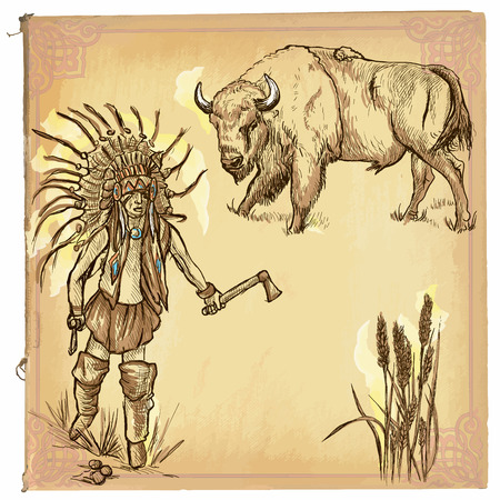 indian buffalo: illustration, colored line art.Native American.sketch of an North American Indian.drawings are editable in layers and groups.Colored paper, background, is isolated.