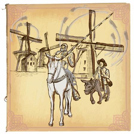 ilustración, arte lineal de color. DON QUIJOTE (DON QUIJOTE). esbozo de caballero Don Quijote frente a los molinos de viento. dibujos son editables en grupos. El fondo es aislado.