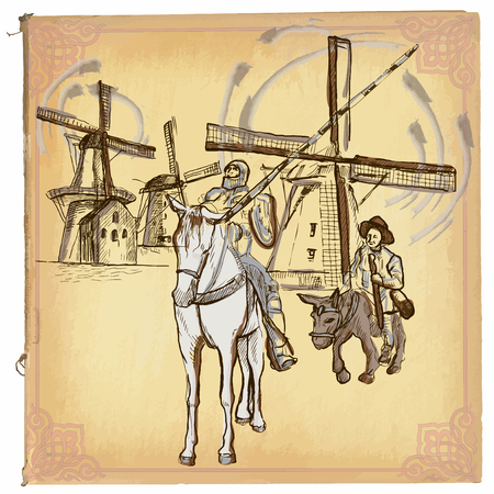 illustration, colored line art. DON QUIJOTE (DON QUIXOTE). sketch of Don Quixote knight in front of windmills. drawings are editable in groups. Background is isolated. Vectores