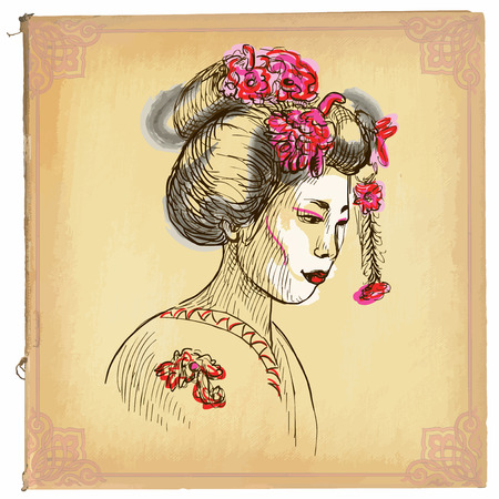 line drawings: illustration, colored line art. GEISHA. sketch of head of an Japan woman. drawings are editable in layers and groups. Colored paper, background, is isolated.