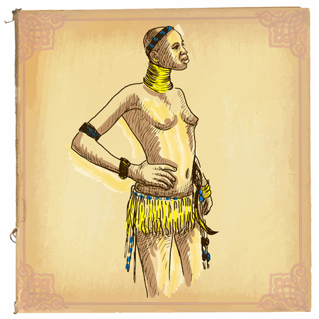 classical arts: illustration, colored line art. AFRICAN WOMAN. Freehand sketch of an African beauty. drawings are editable in layers and groups. Colored paper, background, is isolated. Illustration