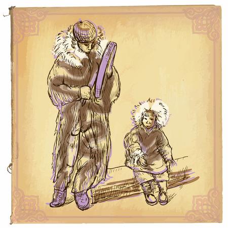 esquimales: ilustración, arte lineal de color. Esquimales. boceto a mano alzada de una familia de esquimales, hombre tocando el tambor, niño sentado. dibujos son editables en grupos. El papel de color es aislado. Vectores
