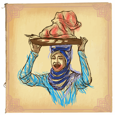 classical arts: illustration, colored line art. WOMAN FROM CAMBODIA. sketch of an Woman carrying something on the head. drawings are editable in groups. Colored paper is isolated.