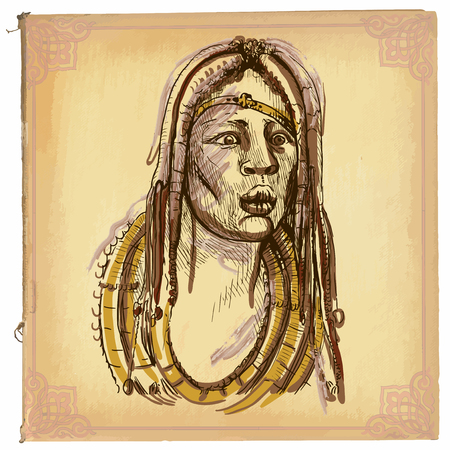 dreadlock: illustration, colored line art. AFRICAN, portrait. sketch of face of an African warrior. drawings are editable in layers and groups. Colored background, is isolated.