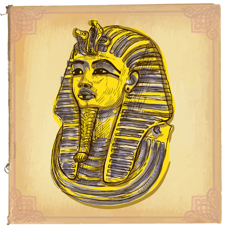 line drawings: Hand drawn illustration, colored line art. TUTANKHAMUN pharaoh mask. Freehand sketch of death mask of egyptian pharaoh. Hand drawings are editable in layers and groups. Background, is isolated. Illustration
