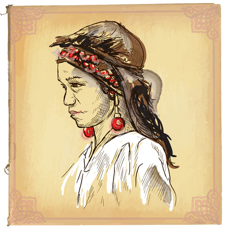 line drawings: An hand drawn illustration, colored line art. YOUNG BEAUTY FROM LAOS. Freehand sketch of an Young woman from Asia. Hand drawings are editable in groups. Colored paper is isolated.