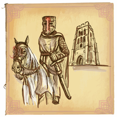 An hand drawn illustration, colored line art. KNIGHT on horse. Freehand sketch of an medieval hero.