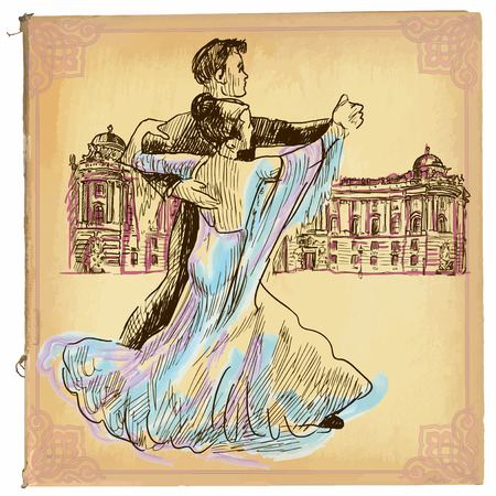 An hand drawn illustration, colored line art. DANCING PAIR, waltz dance in Vienna. Freehand sketch of an young couple dancing. Hand drawings are editable in groups. Colored paper is isolated. Ilustração