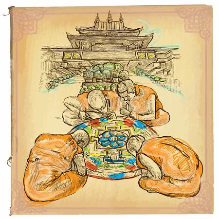 monasteri: Un'illustrazione disegnata a mano, colorato disegni al tratto. MANDALA. schizzo a mano libera di un monaci tibetani che fanno un mandala di fronte al monastero. Vettoriali