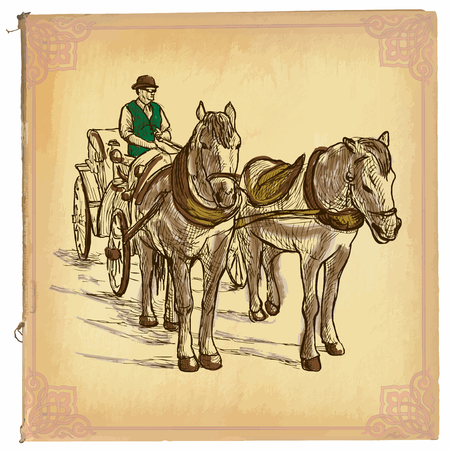 horse and cart: An hand drawn illustration, colored line art. HORSES and CART. Freehand sketch of an teamster on horse drawn carriage. Hand drawings are editable in groups. Colored paper is isolated. Illustration