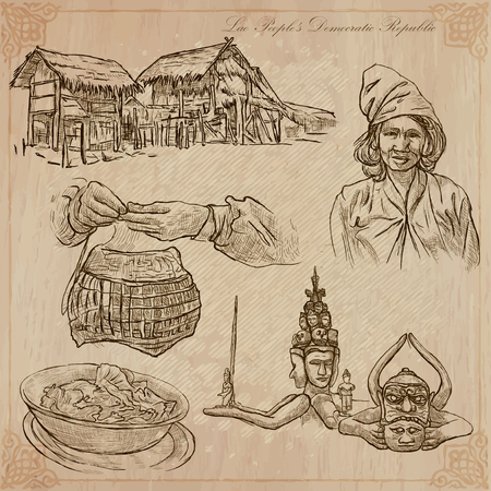 monsters house: Travel collection. LAOS traveling set. Pictures of Life, Lao Peoples Democratic Republic.Hand drawn vector pack, freehand sketching. Illustrations are editable.All things are named inside the vector. Illustration