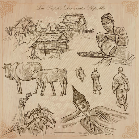 lao: Travel collection. LAOS traveling set. Pictures of Life, Lao Peoples Democratic Republic.Hand drawn vector pack, freehand sketching. Illustrations are editable.All things are named inside the vector. Illustration