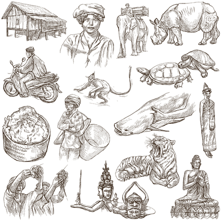 lao: Travel series, LAOS - Pictures of Life. Collection of an hand drawn illustrations - Lao Peoples Democratic Republic. Pack of full sized hand drawn illustrations, set of freehand sketches. Drawing on white.