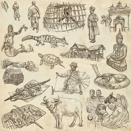 lao: Travel LAOS - Pictures of Life. Collection of an hand drawn illustrations - Lao Peoples Democratic Republic. Pack of full sized hand drawn illustrations, set of freehand sketches. Drawing on paper. Stock Photo