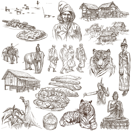 outline drawing: Travel series, LAOS - Pictures of Life. Collection of an hand drawn illustrations - Lao Peoples Democratic Republic. Pack of full sized hand drawn illustrations, set of freehand sketches. Drawing on white.