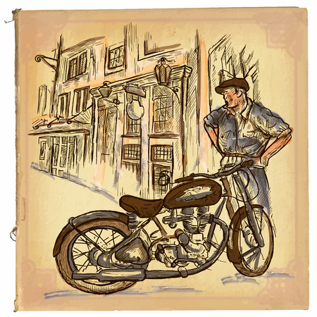 An hand drawn retro vector illustration, colored line art. MOTORCYCLE REPAIRMAN. Vintage freehand sketch of an repairman in front of old house. Hand drawings are editable. Background is isolated.