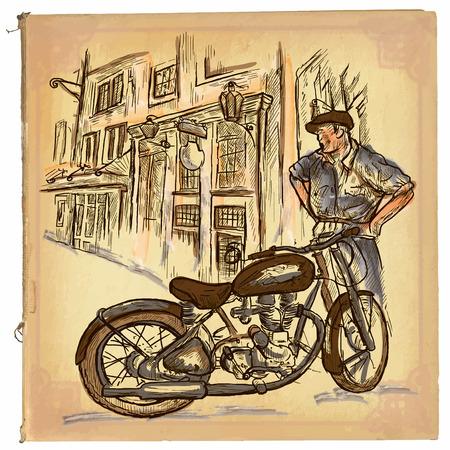 Une main tirée rétro illustration vectorielle, l'art de la ligne de couleur. MOTORCYCLE REPARATEUR. Vintage esquisse à main levée d'un réparateur en face de la vieille maison. dessins à main sont modifiables. Le fond est isolé. Vecteurs