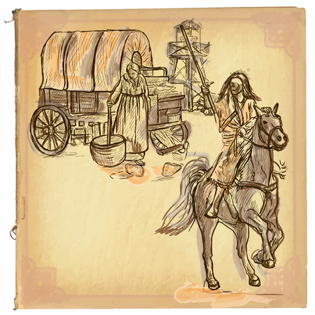 draft horse: An hand drawn retro vector illustration, colored line art. INDIAN. Freehand sketch of an native american in front of settlers. Hand drawings are editable. Background is isolated. Vintage processing.