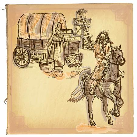 Una mano disegnato retrò illustrazione vettoriale, colorato disegni al tratto. INDIANO. schizzo a mano libera di un nativo americano di fronte a coloni. disegni a mano sono modificabili. Sfondo è isolato. l'elaborazione d'epoca. Vettoriali
