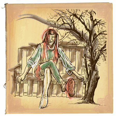 classical mythology character: An hand drawn retro vector illustration, colored line art. TILL EULENSPIEGEL. Vintage freehand sketch of a trickster figure originating in Middle Low German folklore sitting on a bench.