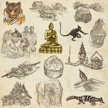 drawing an animal: Travel LAOS- Pictures of Life.Collection of an hand drawn colored illustrations - Lao Peoples Democratic Republic.Pack of full sized hand drawn illustrations,set of freehand sketches.Drawing on paper