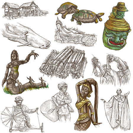 lao: Travel LAOS- Pictures of Life.Collection of an hand drawn colored illustrations - Lao Peoples Democratic Republic.Pack of full sized hand drawn illustrations,set of freehand sketches.Drawing on white Stock Photo