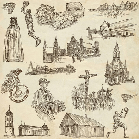loci: Travel series, Republic of LITHUANIA - Pictures of Life. Collection of an hand drawn illustrations. Pack of full sized hand drawn illustrations, set of freehand sketches. Drawing on old paper.