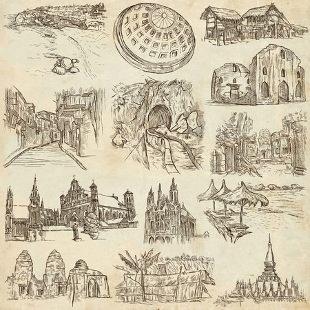 place of worship: Sketching, FAMOUS PLACES AND ARCHITECTURE. Set of People and Natives. Collection of an hand drawn illustrations. Pack of full sized hand drawn illustrations, original freehand sketches.
