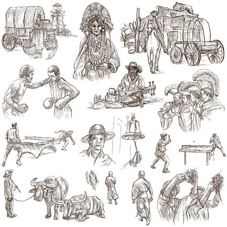 femme et cheval: Esquisses, UNITED COLORS DE RACE HUMAINE. Ensemble de personnes et les autochtones. Collection d'un illustrations dessinées à la main. Pack illustrations pleine taille de la main dessiné, croquis à main levée originales. Banque d'images