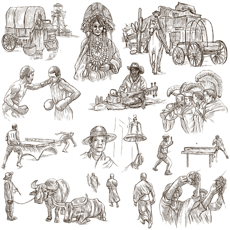 draft horse: Sketching, UNITED COLORS OF HUMAN RACE. Set of People and Natives. Collection of an hand drawn illustrations. Pack of full sized hand drawn illustrations, original freehand sketches.