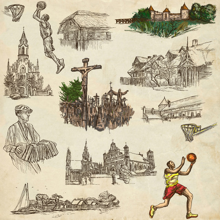 Travel series, Republic of LITHUANIA - Pictures of Life. Collection of an hand drawn illustrations. Pack of full sized hand drawn illustrations, set of freehand sketches. Drawing on old paper.