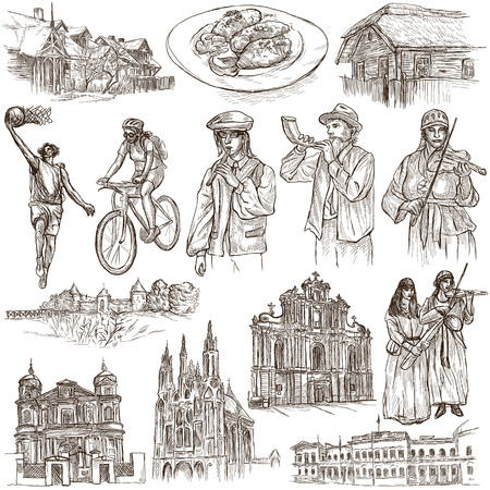 loci: Travel series, Republic of LITHUANIA - Pictures of Life. Collection of an hand drawn illustrations. Pack of full sized hand drawn illustrations, set of freehand sketches. Drawing on white background.