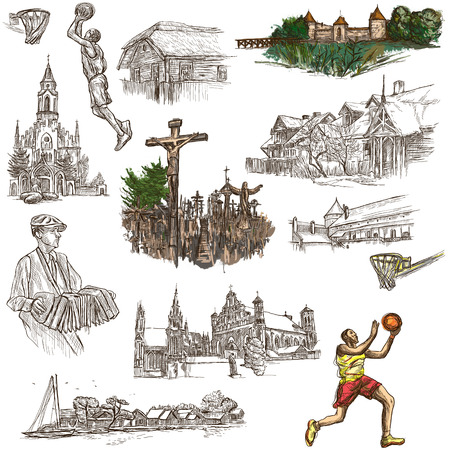 Travel series, Republic of LITHUANIA - Pictures of Life. Collection of an hand drawn illustrations. Pack of full sized hand drawn illustrations, set of freehand sketches. Drawing on white background.