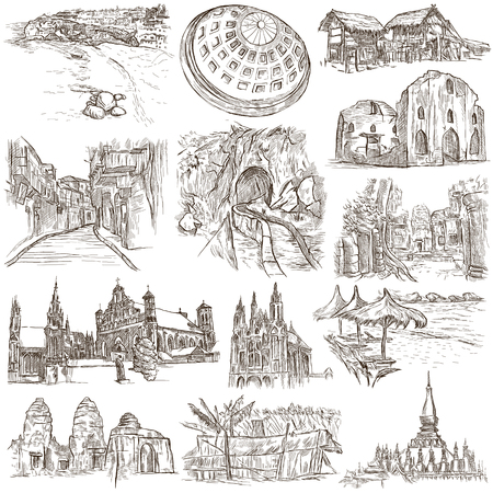 loci: Sketching, FAMOUS PLACES AND ARCHITECTURE. Set of People and Natives. Collection of an hand drawn illustrations. Pack of full sized hand drawn illustrations, original freehand sketches.